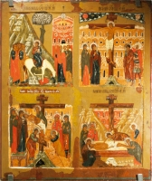 Four-part icon: the Entrance into Jerusalem, the Crucifixion, the Descent from the Cross, the Laying in the Tomb