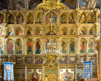 The Iconostasis in the Dormition Cathedral at The Tikhvin Monastery. Photo by V.V.Chistyakov